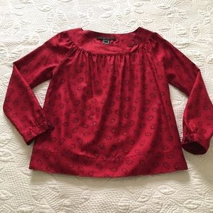 Marc Jacobs Red Silk Print Long Sleeve Top